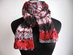 Knit Red Scarf  Made to Order  Multicolor Cable by KnitsByNat