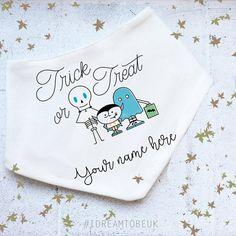 Trick or Treat baby bandana bib  personalised bib dribble