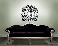 DIY Valentines day decor with designer wall art by Jonathan Adler for WallPops velvet love wall decal black velvet couch