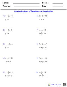 math worksheet : solving two variable systems of equations worksheets  math aids  : Substitution Math Worksheets
