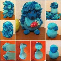 Sewing Toys Sock hedgehog - We've put together lots of Sock Animals that you are going to love to make. Check out all the free patterns and tutorials now. Sewing Toys, Sewing Crafts, Sewing Projects, Craft Projects, Project Ideas, Sock Crafts, Fun Crafts, How To Make Socks, Hedgehog Pet