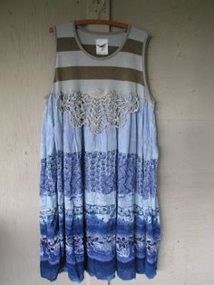 Romantic upcycled clothing summer flowing maxi dress gypsy