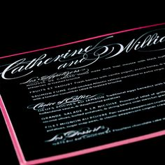 Custom fresh wedding menu design by Paperwhites (paperwhites-invitations.com) #black #white #pink #script