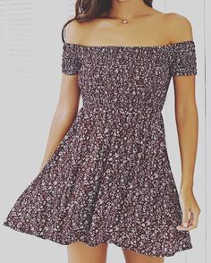 Tiny Floral Print Elastic Waist Off The Shoulder Dress from Zaful