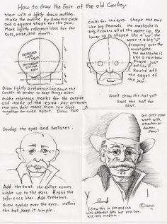 How to Draw Worksheets for Young Artist: How to draw the face of the old Cowboy