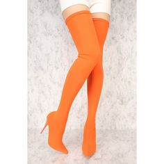 Orange Stretchy Lycra Pointy Toe High Thigh High Heel Boots ($75) ❤ liked on Polyvore featuring shoes, boots, sexy boots, stretch over the knee boots, sexy high heel boots, over-the-knee high-heel boots and winter boots