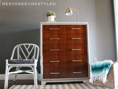 Two tone refinished dresser with gold hardware @restoredandrestyled Facebook.com/restoredandrestyled