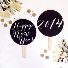 2014 New Year Photo Props. New Years Eve Photo Booth Props. Happy New Year - Black and White