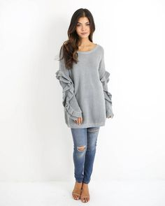Tender Touch Ruffle Knit Sweater - Heather Grey