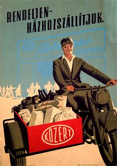 Super market home delivery Hungarian poster - 1950