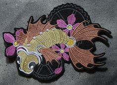 Steampunk Embroidered Koi with Gears Patch