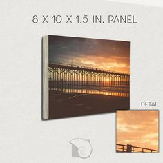 "Hipster photography 8x10 art panel photography prints sunrise photograph surf photo beach photo flat photograph flat colors by CoastalFocusArt |  20.00 USD  One of the sunrise photographs people ask to use on their websites the most I titled this one ""Hipster Pier"" as a tongue-in-cheek nod to the flat low contrast feel that seem popular with the younger crowds.   This 8x10 panel is ready to hang--no framing required!  Easy to hang--hollow in the back just takes two nails  Great for sitting…"