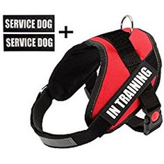 """Fairwin Service Dog Harness, Dog Reflective Vest with """"IN TRAINING"""" Patches for Large Medium Small Dogs (XS, Red) …"""