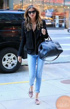 Chanel jacket, Eres pajama top, FRAME denim jeans, Chanel sunglasses, Givenchy bag and Tabitha Simmons shoes