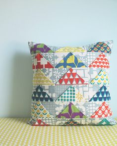 Dimensional Flying Geese Pillow with Stamped fabric from Kokka.