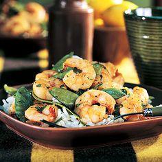 Shrimp and Snow Pea Stir-Fry - only 173 calories!