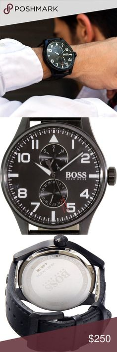 Authentic Hugo Boss Mens Black Leather Dress Watch Mens Hugo Boss Aeroliner Black Leather Dress Watch  Japanese Quartz Movement 45mm Case Stainless Steel Case with Genuine Leather Band Water Resistant to 50 Meters  Shows the time and has 2 date wheels,  one to show the Day of the Week and another to show the date of the month.  This is a great Entry Designer Luxury wrist watch time peice that is sure to be appreciated for a long time.  Comes w/ full retail packaging. Brand New & Authentic…