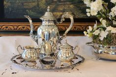 Oneida Silver Plate Tea Service - Tea Set and Tray - 4 Piece Set - Round Serving Tray - Matching Cream & Sugar - Royal Provincial
