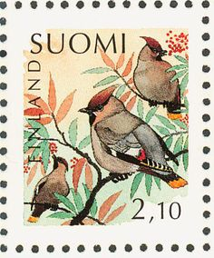 Birds on stamps: Finland Finlande Finlandia Postage Stamp Design, Bird Illustration, Vintage Stamps, Flora, Birds, Rooster, Gallery, Painting, Image