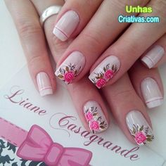 Unhas delicada com fores. Perfect Nails, Gorgeous Nails, Spring Nails, Summer Nails, Cute Nails, Pretty Nails, Flower Nails, Creative Nails, Nail Arts