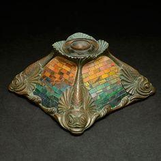 Tiffany Studios, New York, Iridescent Favrile Glass, Mosaic and Bronze Inkwell.