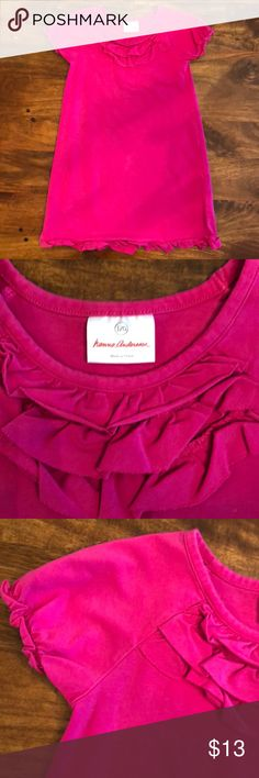 Hanna Andersson short sleeve jersey dress Bright fuchsia short sleeve stretch cotton jersey with ruffles at bodice and hem. Shows slight wash wear and there are two light fade marks on the left shoulder, barely noticeable - please see last picture. Hanna Andersson Dresses