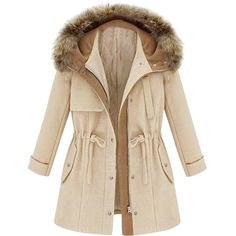 Drawstring-waist Fur-hood Quilted Md-long Coat ($67) ❤ liked on Polyvore featuring outerwear, coats, quilted coat, brown coat, long brown coat, longline coat and fur hood coat