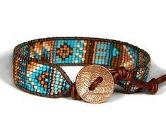 Bead Loom Bracelet Blue Turquoise Copper Chaos Tribal Leaf Boho Bracelet Aerieannas Wristcraft Bohemian Jewelry Aerieannas Wristcraft