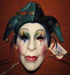 Fantastic Vintage Jester Clown Ceramic Wall Mask by Clay Art w/ tag Mardi Gras