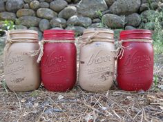 Hand Painted Red and Putty Brown Pint Sized by SwiftRiverCreations, $30.00