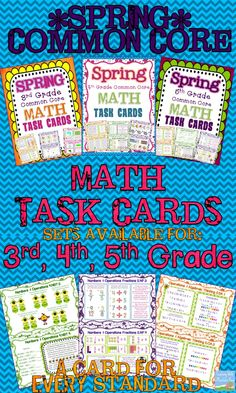 *Spring* Common Core Math Task Cards.  Available for 3rd, 4th, and 5th grade.  A set of half-page cards with a variety of prompts on each to review and reinforce EVERY standard within the grade level!  Answer Key & Recording Sheets Included. $