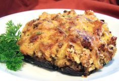 Delicious, and often requested, Stuffed Mushroom recipe. I usually serve as a side dish with grilled sirloin steaks. Shrimp Stuffed Mushrooms, Stuffed Portabello Mushrooms, Stuffed Mushroom Caps, Stuffed Shrimp, Healthy Eating Tips, Healthy Recipes, Healthy Nutrition, Healthy Meals, Keto Recipes