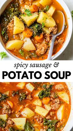 Hearty Soup Recipes, Spicy Recipes, Cooking Recipes, Healthy Recipes, Recipes With Spicy Sausage, Potato Soup Recipes, Chicken And Kale Recipes, Healthy Hearty Soup, Best Soup Recipes