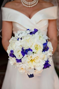 purple and white bouquet, bridal bouquet wedding, round tight clean modern polished white and deep/ dark blue, lavender and purple wedding