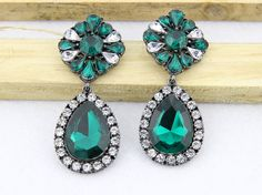 Emerald Statement Earrings Large Drop Earrings Crystal by eBijoux, $11.99