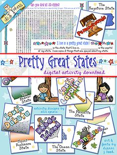 DJ's 'Pretty Great States' activity download is a FUN way to show off the USA! This kit includes 100 memory cards (for match games, flash cards, & group learning activities), a 50 states word search & a page to help younger kids explore their home state. Perfect for classrooms, road trips or educational fun at home! Go to product: http://www.djinkers.com/greatstates.html