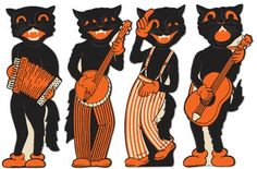 4 Retro Halloween Scat Cat Band Vintage Party Decorations American Horror Story for sale online Beistle Halloween, Halloween Cat, Holidays Halloween, Halloween Costumes, Halloween Stuff, Halloween Rules, 1950s Halloween, Halloween Donuts, Victorian Halloween