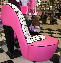 This chair is for my walk in closet.  Dalmatian & Hot Pink High Heel Shoe Chair
