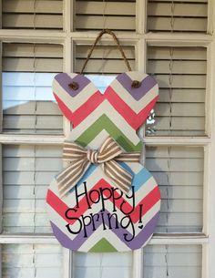 Easter Bunny Wooden Door Hanger by arhale4 on Etsy