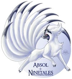 Pokemon Fusion: Absol X Ninetales Pokemon Rare, Pokemon Mix, Pokemon Fusion Art, Mega Pokemon, First Pokemon, Pokemon Memes, Pokemon Fan Art, Cool Pokemon, Pokemon Stuff