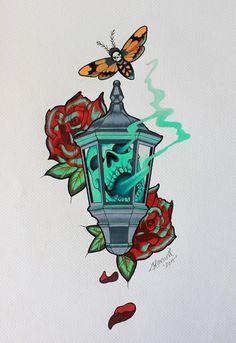 Lantern tattoo design by kowaigirl