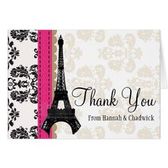 Damask Wedding Thank You Cards HOT PINK AND BLACK DAMASK EIFFEL TOWER THANK YOU CARD