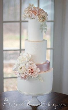 Soft ivory and blush pink wedding cake with handmade sugar flowers. - Soft ivory and blush pink wedding cake with handmade sugar flowers. Blush Pink Wedding Cake, Wedding Cake Fresh Flowers, Floral Wedding Cakes, Blush Pink Weddings, White Wedding Cakes, Elegant Wedding Cakes, Beautiful Wedding Cakes, Wedding Cake Designs, Beautiful Cakes