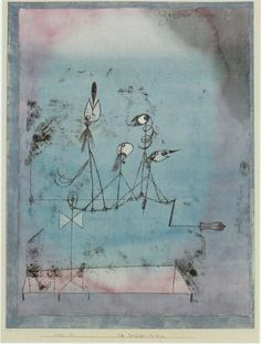 Paul Klee, Zwitschermaschine, 1922. Klee uses a range of thin contour lines to show simple bird-like figures precariously resting on a slackened wire. He has created a light, playful feeling of birds twittering on a high wire like a tight rope walker. Mrs Curran Art 6
