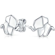 .925 Silver Origami Elephant Animal Stud Earrings ($18) ❤ liked on Polyvore featuring jewelry, earrings, elephant jewellery, animal jewelry, silver elephant jewelry, origami earrings and elephant earrings