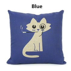 Cat throw pillow comfortable decorative pillows linen 18 in