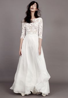 Romantic Fashion - long white dress with embroidered top; haute couture fashion // Kavier Gauche