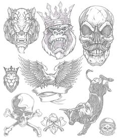 Part1: I rarely look back. My insatiable appetite for discovery and the ongoing battle within for growth is grueling. It forces this aggressive forward momentum that leaves little room for reflection or appreciation. Doing a little organizing this morning of illustrative work. #pencil #sketch #tiger #monkey #gorilla #skull #eagle #bull #rodeo #NFR #alwaysoutnumbered #illustration #drawing #studiolife #art #sweyda Tattoo Sketches, Tattoo Drawings, Art Sketches, Art Drawings, Tatto Ink, Body Art Tattoos, Sleeve Tattoos, Tattoo No Peito, Badass Drawings