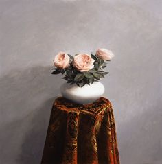 'Roses' by Joseph O' Reilly oil on panel 30 x 30 cms