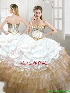95ac38196fb Best Quinceanera Dresses Shop offers Fashionable Beaded and Pick Ups Quinceanera  Dress in White and Gold price under ball gowns color
